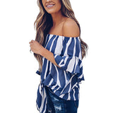 AZMODO Women's Striped Off Shoulder Bell Sleeve Shirt Tie Knot Casual Blouses Tops