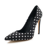 azmodo Women Black Polka Dot Pointed Toe Satin Fabric Slip-On Pumps with High Stiletto Heels Shoes