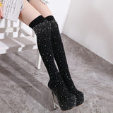 Stretch Fabrics Spike Heel Women Autumn Spring Long Boots Bling Bling Rhinestone Over The Knee Boots