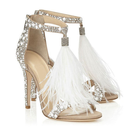 Women's Wedding Dress Party & Evening Stiletto Heel Pearl Tassel White Color Feather Shoes