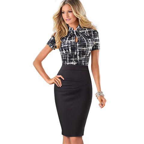 Vintage Contrast Color Patchwork Wear to Work Knot vestidos Bodycon Office Business Sheath Women Dress