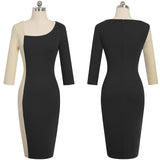 Elegant Contrast Color Patchwork Office vestidos Business Party Bodycon Sheath Women Dress