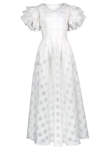 White Plaid Falbala Women's Maxi Dress