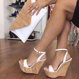 AZMODO Ankle Strap Platform Line-Style Buckle White Wedge Sandals