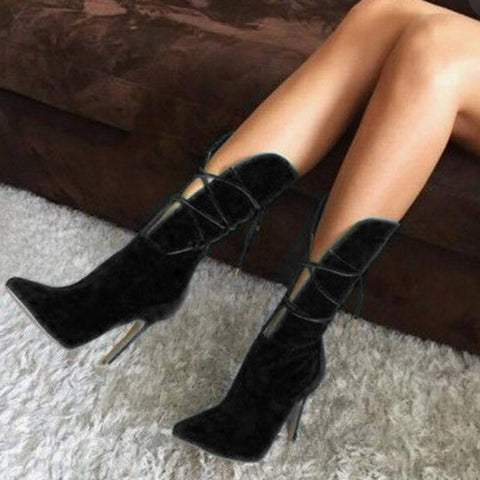 azmodo Pointed Toe Stiletto Heel Lace-Up Ankle Boots