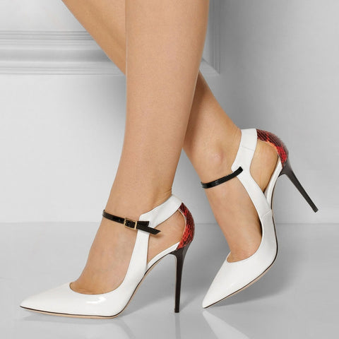 Pointed-toe Cut-outs Ankel Wrap Stiletto Heels