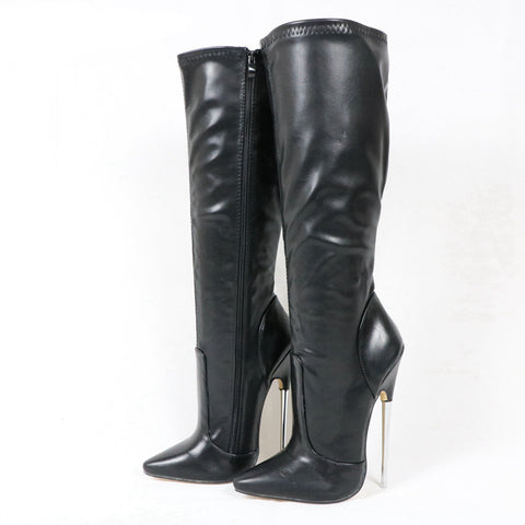 Plus Size Women Boots Metal Heels Large Size 36-46 Pointed Toe Unisex Gay Dance Boots 18CM Thin Heels Height