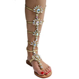 AZMODO Golden Color Shining Rhinestones Thong Flat Sandals A 90-1