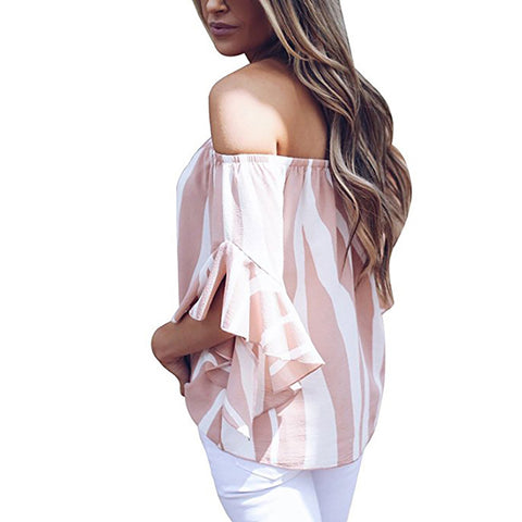 93d7ee3fceabc6 ... AZMODO Women s Striped Off Shoulder Bell Sleeve Shirt Tie Knot Casual  Blouses Tops ...