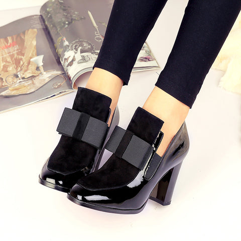 Women Black Patent Leather Bowknot Thick Heel Square Toe Platform Pumps Heels Ankle Boots