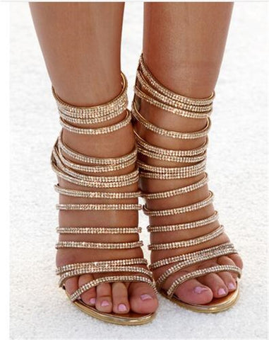 Woman High Stiletto Heel Dress Gladiator Peep Toe Sandals Gold