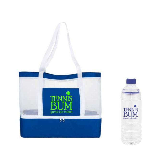 The Spoiled Office 2 Piece Insulated Cooler Tote Bag and Bottle Sport Set (Tennis Bum)