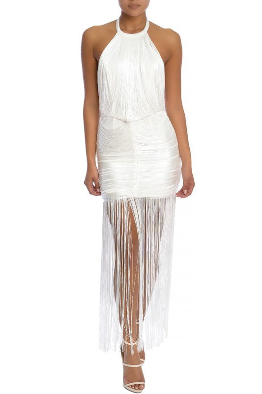 Fringe maxi halter dress