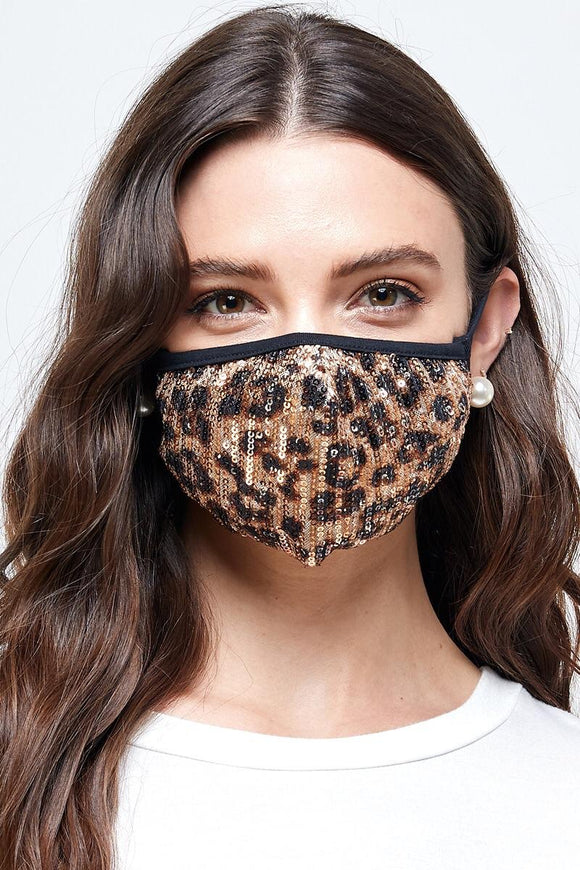 Animal print sequin mask