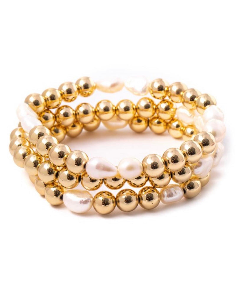 Metallic gold ball set bracelet
