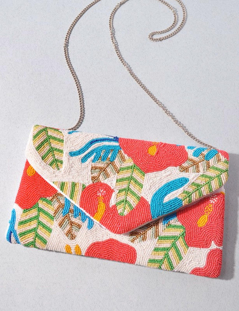 Multicolor beads leaf clutch