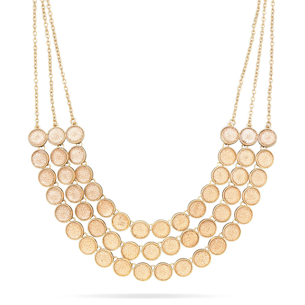 Multirow Champagne Disk Fashion Necklace