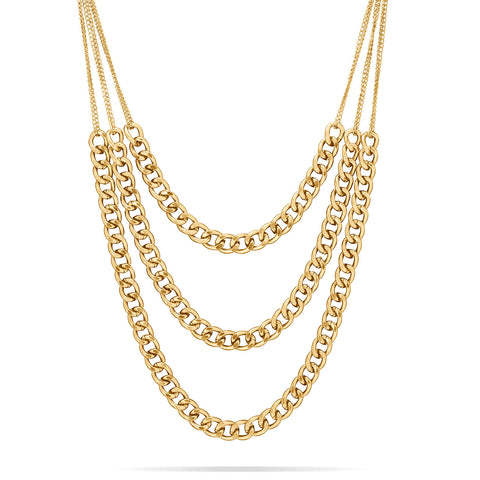 Triple Strand Gold Tone Curb Chain Necklace