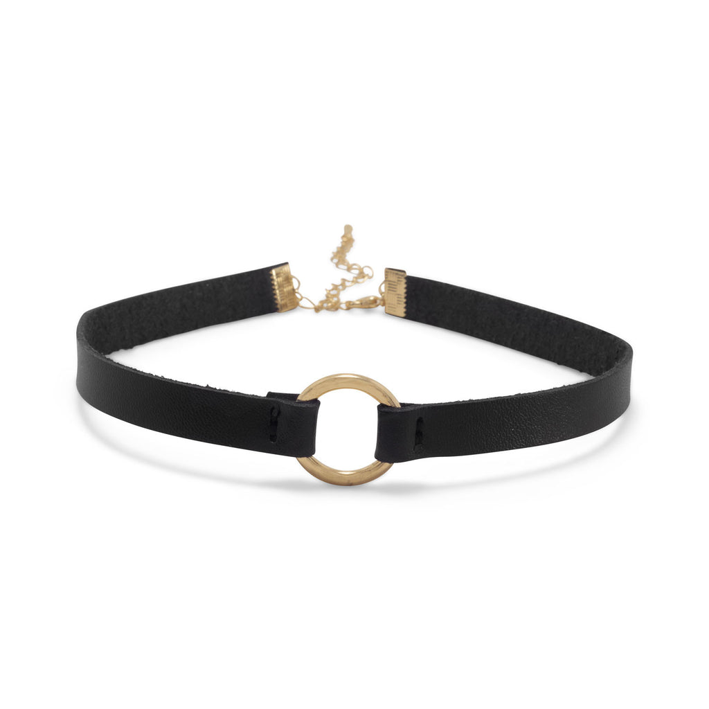 Black Leather with Gold Tone Ring Fashion Choker