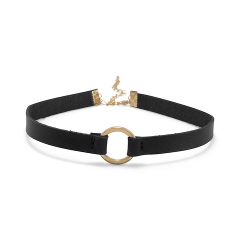 Black Leather with Ring Choker