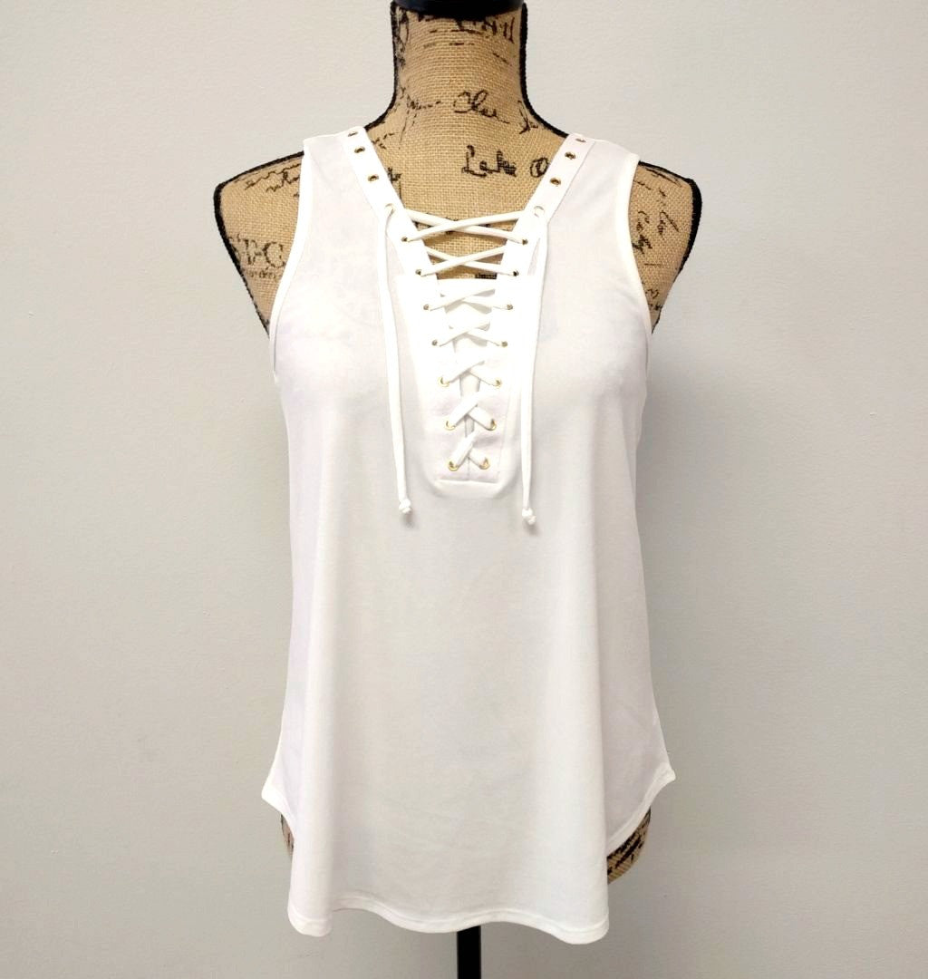 Laced Up Sleeveless Tank Top
