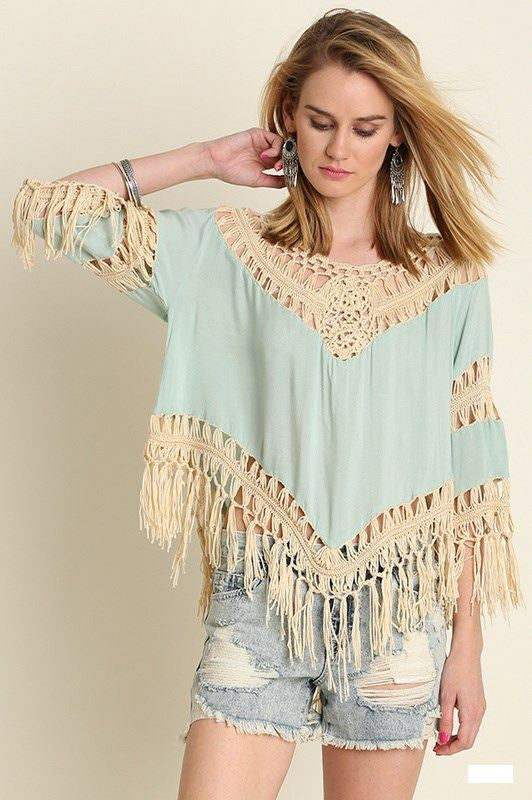 Catherine Crochet Knit Fringed Top