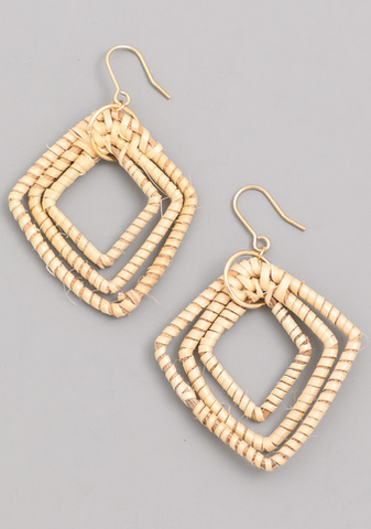 Layered Straw Open Diamond Earrings