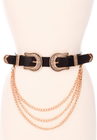Double Buckle With Chain Belt