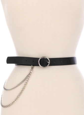 Faux Leather Circle Buckle Belt With Chain