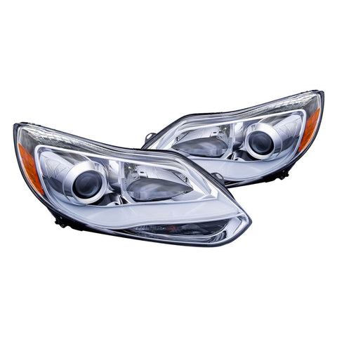 ANZO 2012-2014 Ford Focus Projector Headlights w/ Plank Style Design 121491