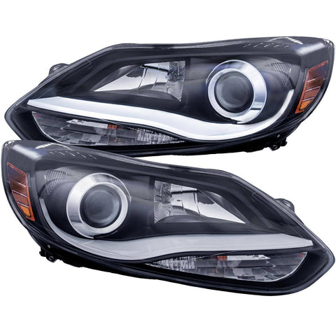ANZO 2012-2014 Ford Focus Projector Headlights w/ Plank Style Design Black 121490