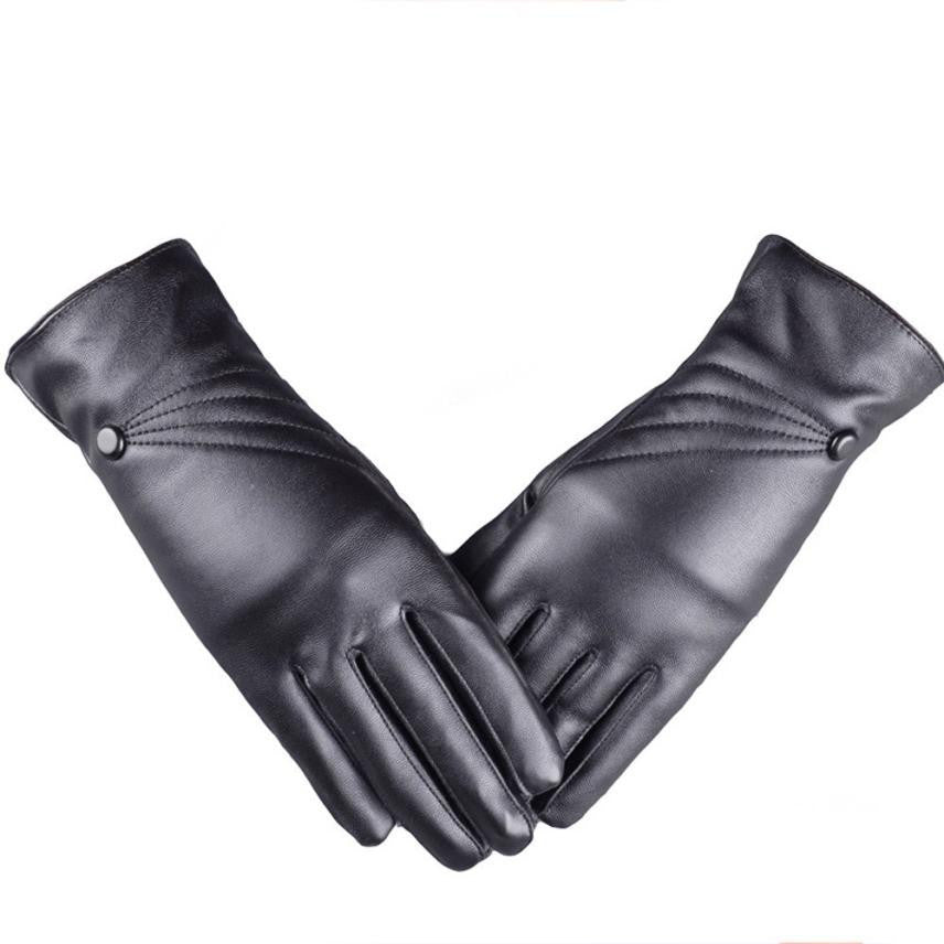 Super Warm Ladies Gloves Faux Leather Cashmere Lining