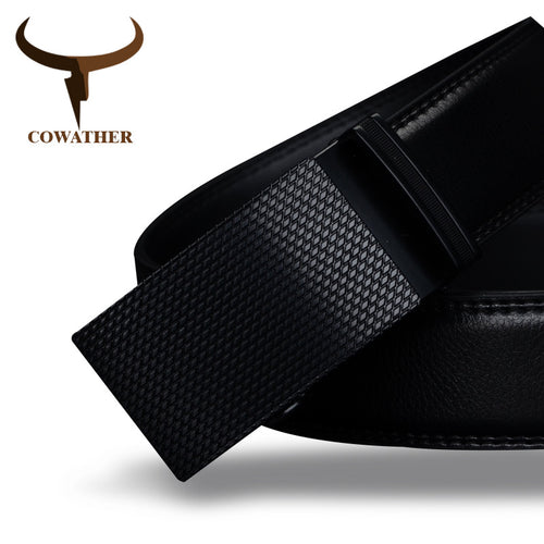 COWATHER Real Leather Black Belt With Sleek Automatic Plated Black Buckle Quick Slip-to-Fit Design