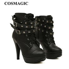 Cosmagic Woman's High Heel Ankle Boots Lace Up Motorcycle Boots With Two Riveted Straps