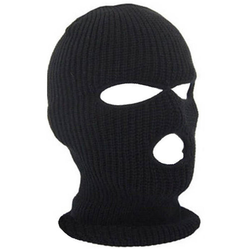 Balaclava Black Knit Full-Face Beanie Cap