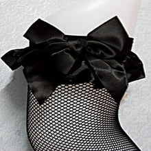 Black Lace Thigh High Fishnet Stockings With Bow