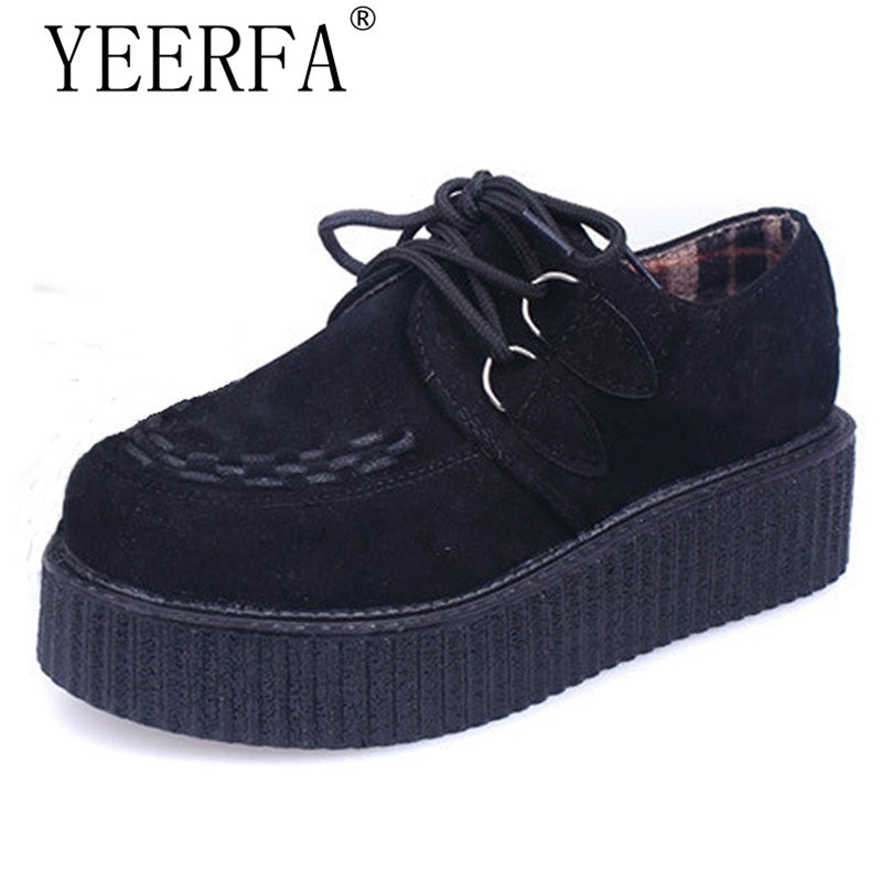 YEERFA Suede Creeper Platform Shoes
