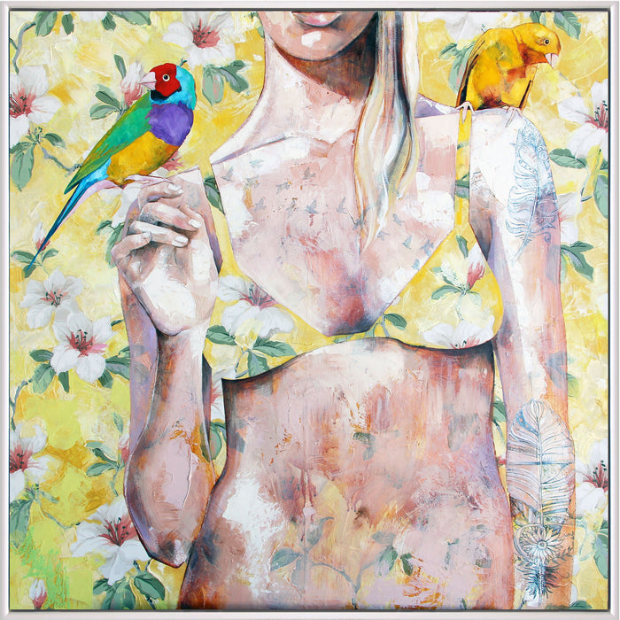 Mrs Finch - Framed Original - 83cmx83cm - Jessica Watts Art