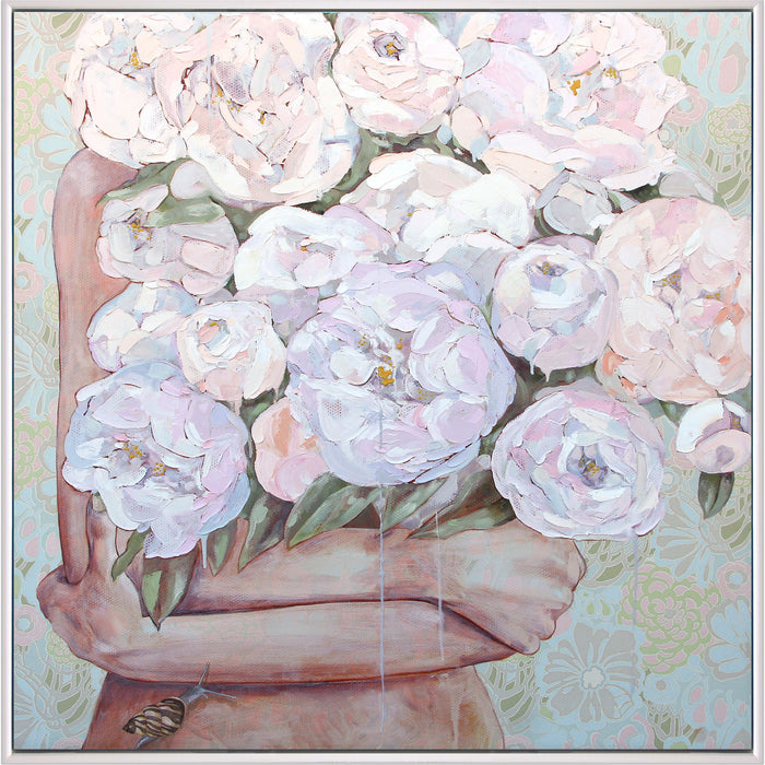 A Persuasion of Peonies - Framed Original - 93cm x 93cm - Jessica Watts Art
