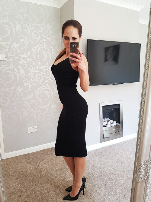 Black Knitted Bodycon Midi Dress