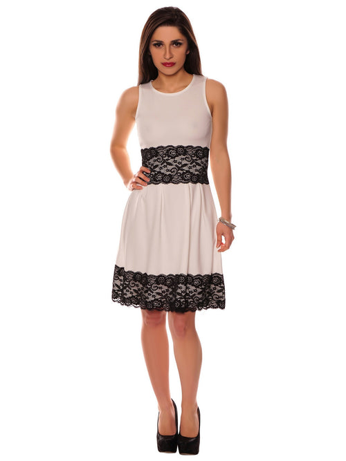 Ivory Floral Contrast Lace Trim Insert Pleated Detail Sleeveless Skater Dress