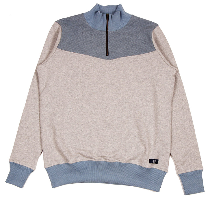Bleu de Paname Polo Zippe Sweater Chine Clair - Pict Clothing
