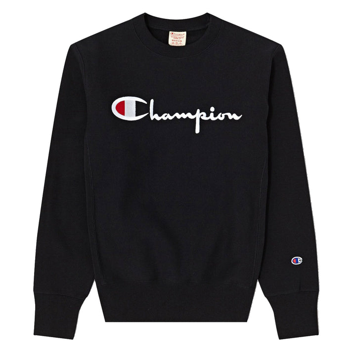 Champion Reverse Weave Script Crew Black - Pict Clothing