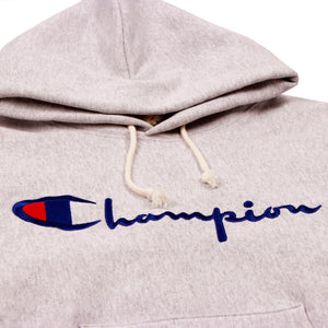 Champion Europe Rev Weave Script Hoodie Oxford Grey - Pict Clothing