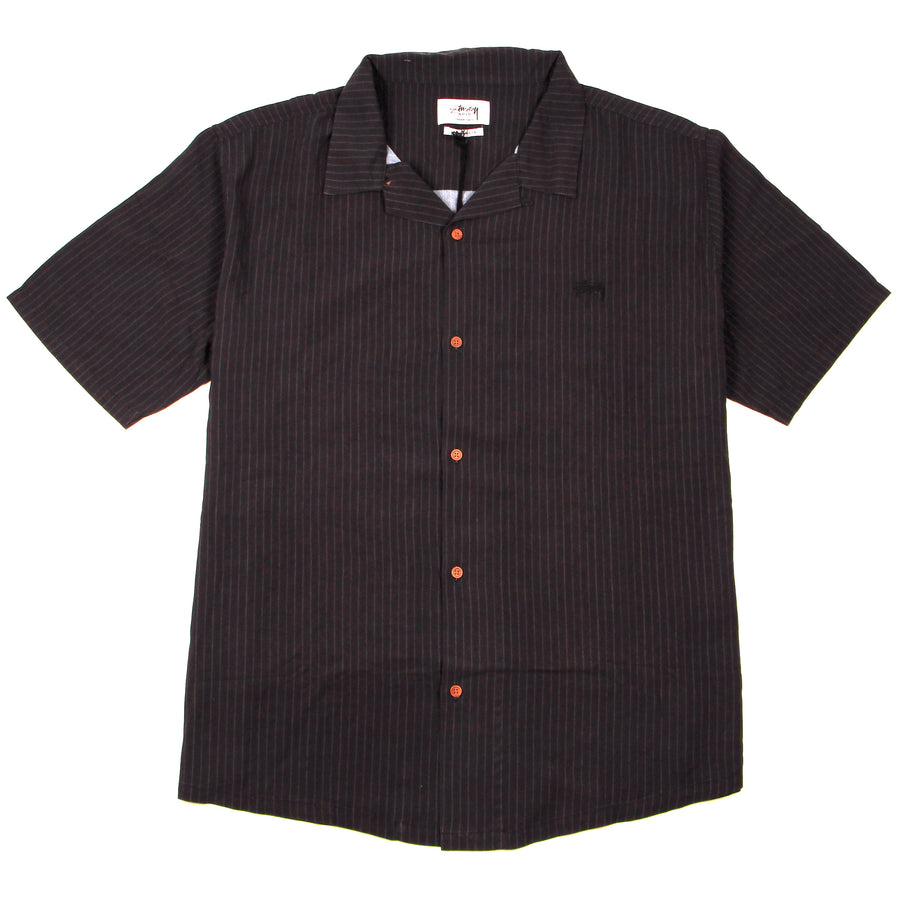 Stussy Stock Pattern Rayon SS Shirt Black/Charcoal - Pict Clothing