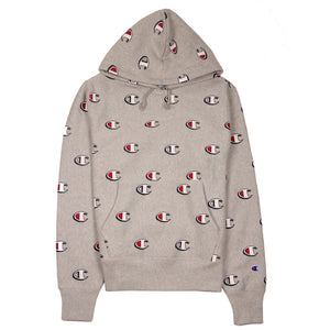 Champion Reverse Weave Hoodie All Over Print Oxford Grey - Pict Clothing