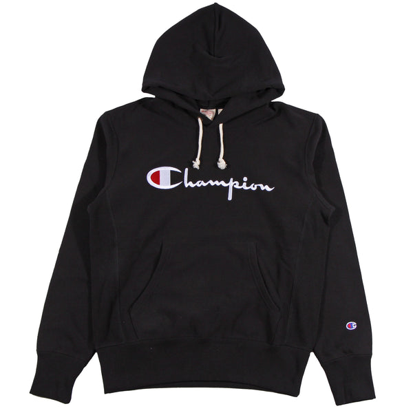 Champion Europe Rev Weave Script Hoodie Black