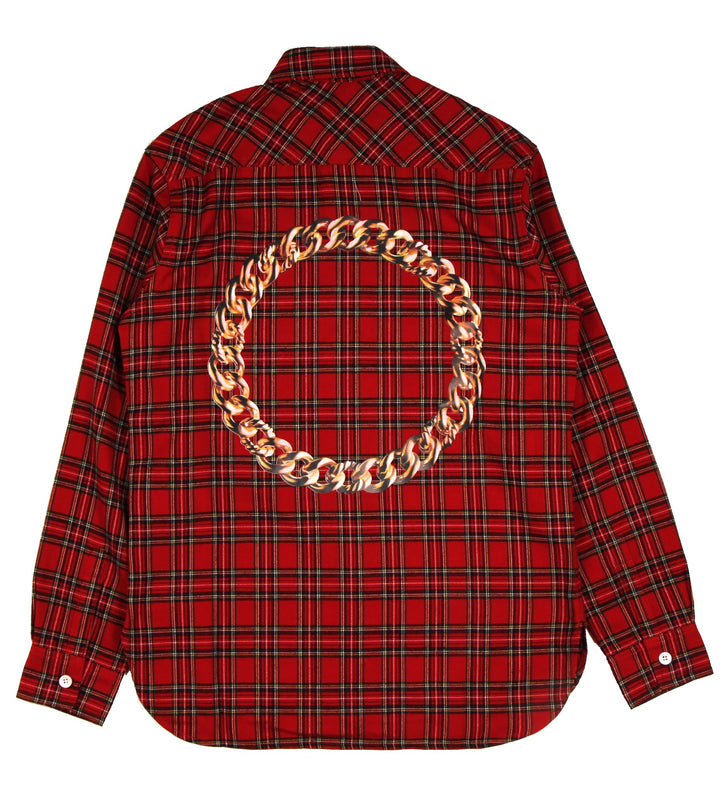For The Homies Chain Flannel Shirt Red - Pict Clothing