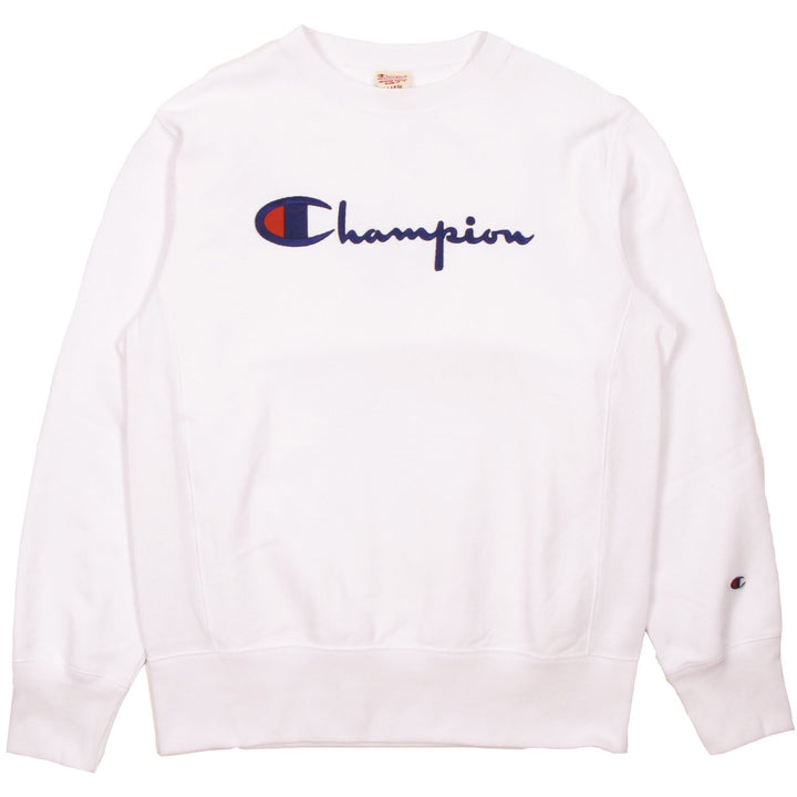 Champion Europe Rev Weave Script Crew White - Pict Clothing