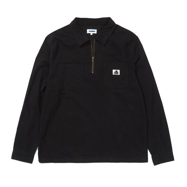 X Large 1/4 Zip Work LS Shirt Black